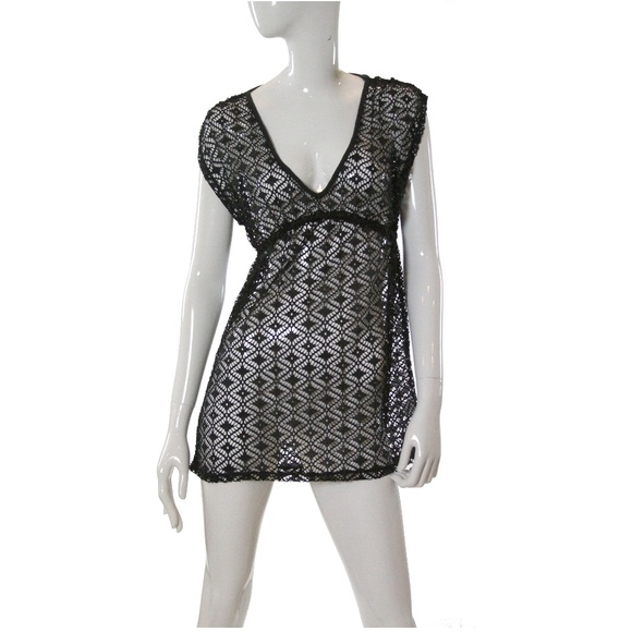 62ee5847bef25 Miken V-Neck Crochet Dress Swimsuit Cover-Up NWT